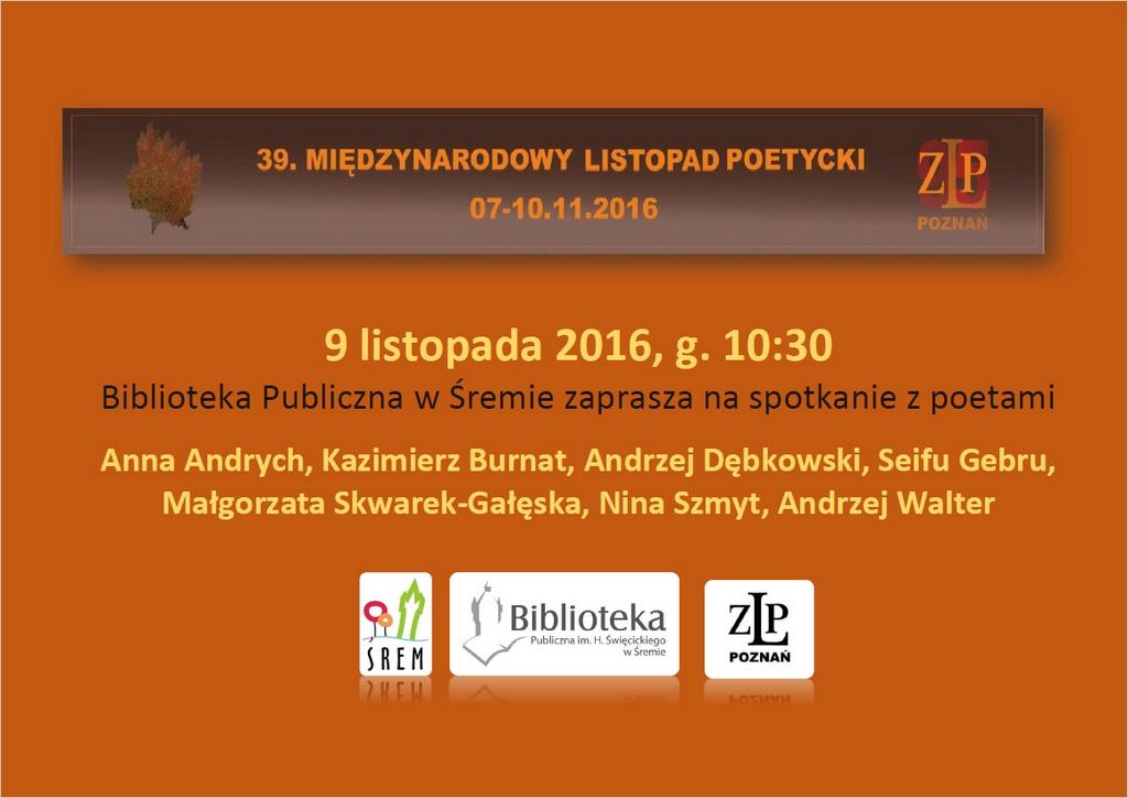 Listopad Poetycki Biblioteka Publiczna Im H święcickiego
